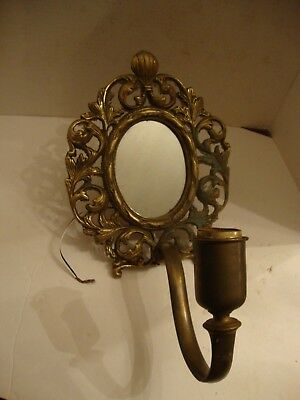 "Old Vintage Art Nouveau Solid Brass Wall Mirror Sconce Light 10"" Tall  Restore"