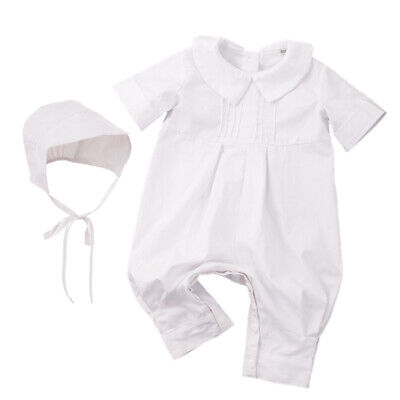 54ae232dc81c4 Blessume Baby Boys Pique Christening Baptism White Longall with Hat Outfit  1-3M