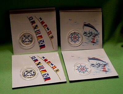 Set 8 vintage 60's STOTTER melamine boating luncheon/snack plates w/cup holders