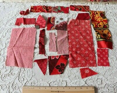 Lot Of 16 Antique French & American Cotton Turkey Red Fabrics~Bandana & Quilts