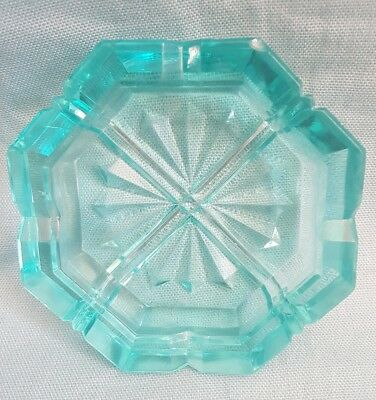 Vintage 1960's-70's Turquoise Blue Cut Glass Octagonal Ashtray-Cigarettrs/Cigars