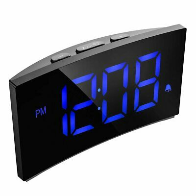 "5"" LED Curved Screen Digital Alarm Clock Dimmable Snooze Desk Clock Snooze USB"