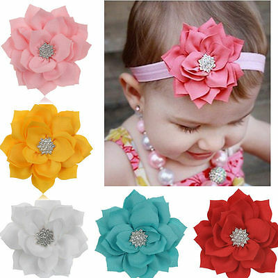 UK Quality Beautiful Baby girl infant flower crystal diamante headband hair band