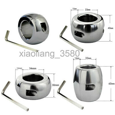 Stainless Steel Ball Stretcher Squeeze Scrotum Pendant Enhancer Chastity Ring