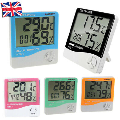 Digital Lcd Thermometer Hygrometer Humidity Meter Indoor Tempereture Clock Room