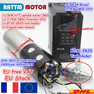 EU: 3KW BT30 ATC Automatic Tool Change CNC Milling Spindle Water Motor +VFD 380V
