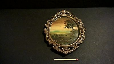 Antique hand-painted miniature landscape painting on copper signed brass frame