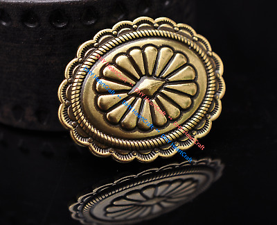6X Antique Gold Beauty Carved Flower Leathercraft Belt Accessories Concho Button