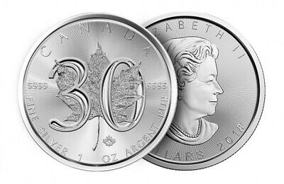 2018 Canadian 30th Anniversary Maple Leaf 1oz Silver Bullion Coin with Capsule