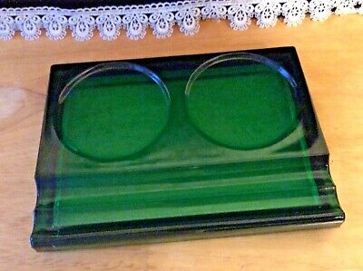 Antique Green Glass Desk Inkwell, Pen and Pencil Holder Heavyl