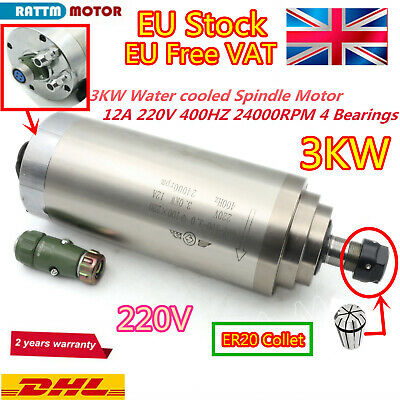 【From EU】 3KW ER20 CNC Spindle Water Cooling Engraving Mill Motor 220V 4-Bearing