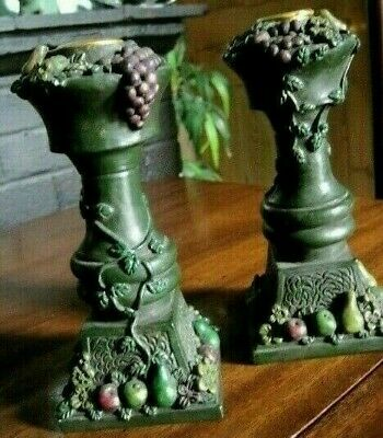 Pair of resin candlesticks- decorated with grapes,vine and assorted  fruits