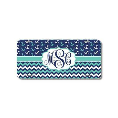 Personalized Monogrammed Chevron Anchor Glitter License Plate Custom Car L081