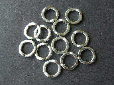 50 ANTIQUE SILVER PLATED ROUND CIRCLE BEAD FRAMES 13mm DIAMETER - LEAD FREE