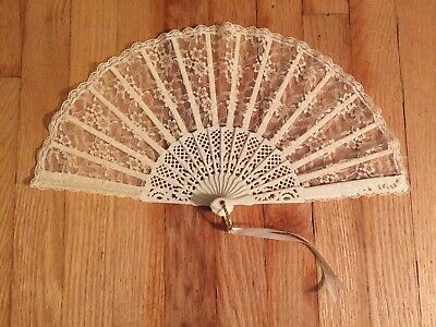 Vintage Celluloid Plastic Ornate Lace Peacock Fan, Folding Hand Fan
