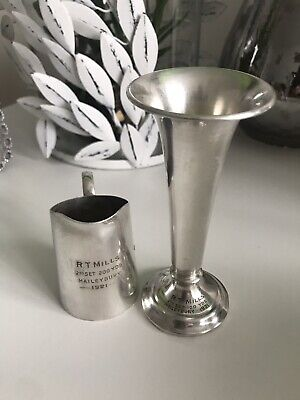 Mappin & Webb Antique Silver Cream Jug And Candlestick