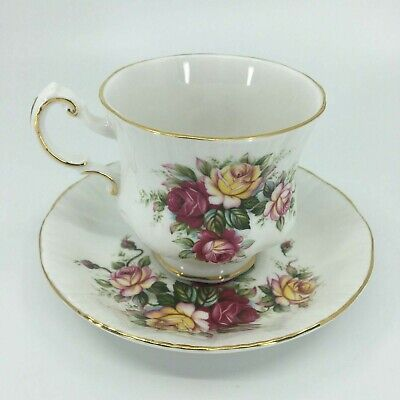 Paragon Tea Cup Saucer Flower Festival Series E Red Yellow Rose Teacup