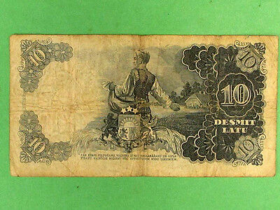 LATVIA 1938, 10 Lats Collectable Banknote. Fine
