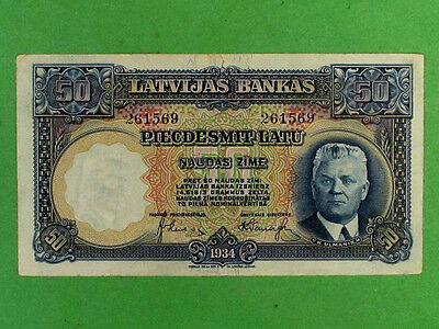 LATVIA 1934, 50 Lats Collectable Banknote. Extra Fine