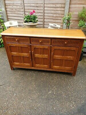 Beautiful Vintage Priory Solid Golden Wood Sideboard /Cupboard Can Deliver