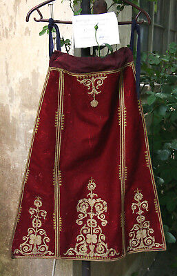 GREEK ANTIQUE AUTHENTIC HANDMADE KARAGOUNA RED WEDDING APRON circa 1935 !
