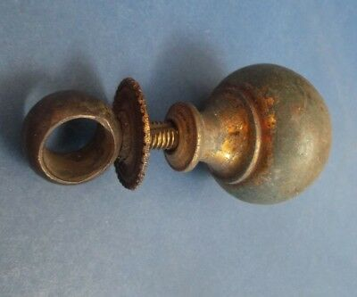 Single Edwardian Brass well Patinated Curtain pole finial