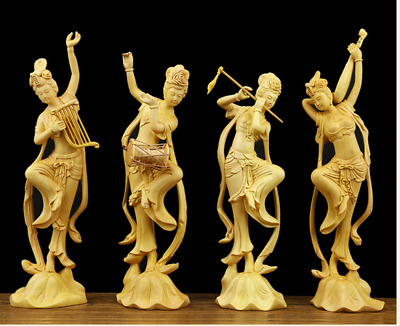 chinese Wood boxwood carving figure 4 Belle Women Classical beauty Music Statue