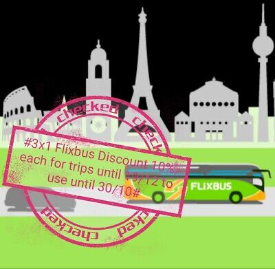 #3x1Flixbus 10% Coupon Kupon Rabbatt valid until 30/10 for trips until 19/12