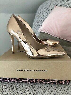 d702875ec SIZE 6 RIVER Island Rose Gold Metallic Espadrille Platform Wedges ...