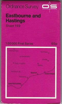 Ordnance Survey Map Sheet 199 Eastbourne & Hastings 1974 First Series OS