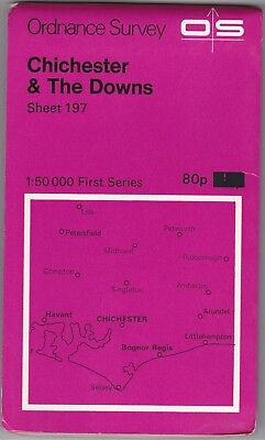 Ordnance Survey Map Sheet 197 Chichester & The Downs 1974 First Series OS