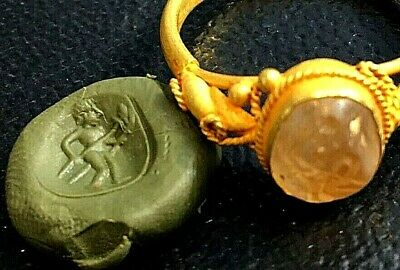 Ancient Crystal Nude Hercules Holding Double Spears Intaglio Solid 22K Gold Ring