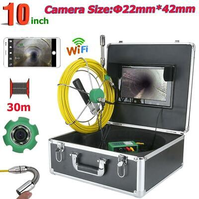 """HD 10"""" WiFi APP 30M 145° 22mm IP68 Industrial Pipe Sewer Inspection Video Camera"""