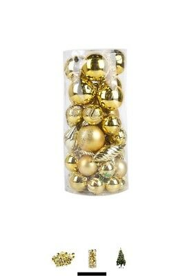 Extra LARGE 42 Piece GOLD Elegant Assorted Christmas Tree Baubles Decoration Set