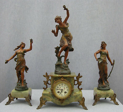 Imposing 19th Century Onyx Clock Garniture, Guillemain's Passage du gué, Japy