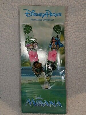 Disney Parks The Moana Trading Pin Starter Pack Lanyard w/ Pins.