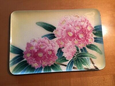 Beautiful Floral Japanese Ando Shippo Wireless Cloisonne Tray