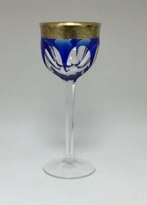 Strikingly Decorative And Unusual Harlequin Cut Crystal Wine Glass Signed Moser Art Glass Glass