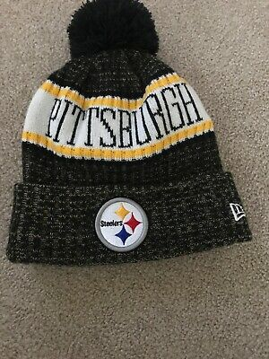 2a3efc82 New Era Pittsburgh Steelers 2018 Pom Knit NFL Beanie Hat And The Terrible  Towel