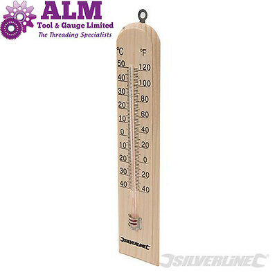Silverline Wooden Thermometer Indoor/ Outdoor Greenhouse Conservatory C & F