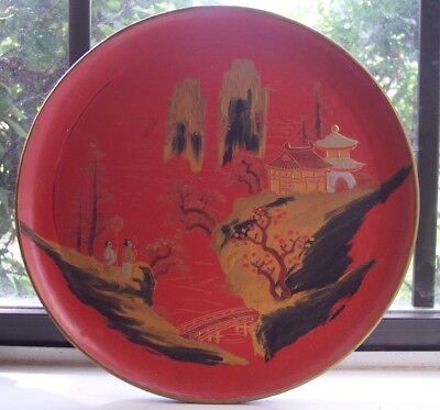 Antique Japanese Hand Painted Chinoiserie Paper Mache/lacquer wood tray