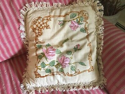 Antique vintage pillow Linen with Embroidered Pink Roses crochet fringe trim