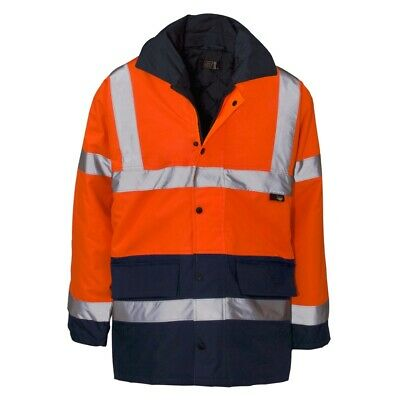 Hi Vis Work Hi Visibility High viz 2 Tone Parka Jacket Waterproof Coat  Mens ...