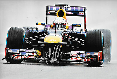 Sebastian Vettel SIGNED 12x8, F1 Red Bull RB9 . F1 Test Jerez 2013
