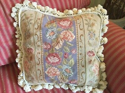 Antique Vintage needlepoint tapestry pillow floral garden pink roses ball fringe