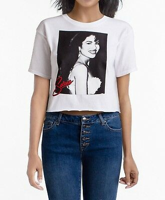 d66670676 Selena Quintanilla Official Women's Size Large White Crop Top Graphic Tee  Shirt