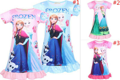 New Girls Frozen Nightdress Nightie Summer Sleepwear Pajamas Skirts 3-9Years