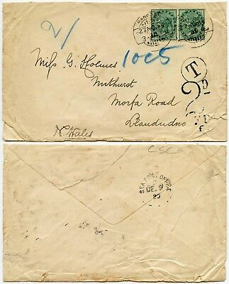 BURMA to WALES POSTAGE DUE 2d + TAXE 1899 QV HALF ANNA PAIR