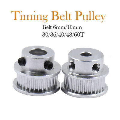 GT2 6mm Timing Belt Smooth Tooth Idler Drive Pulley 16 20 30 36 40 60 Bore