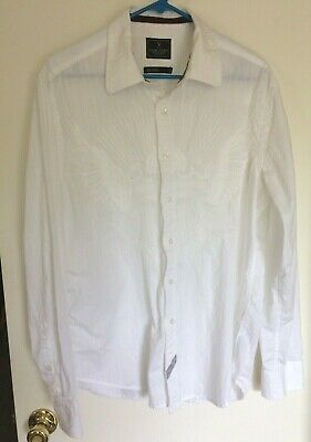 Marc Ecko Times Square New York White Embroidered Long Sleeve Button Shirt Sz. L